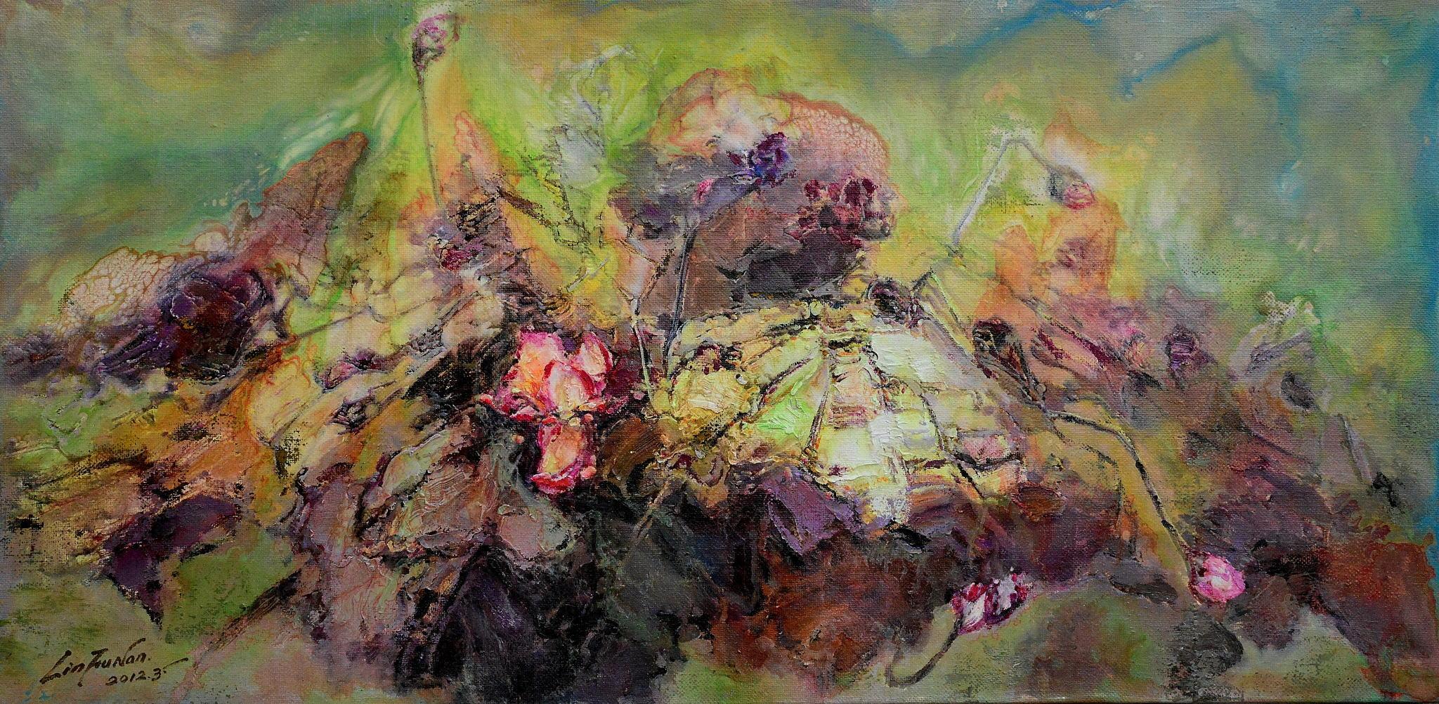 油畫-荷伴達摩