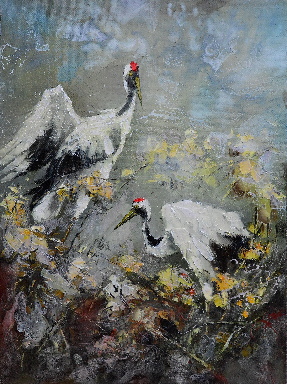 油畫-情牽雙鶴