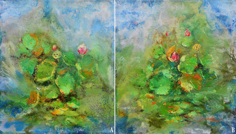 油畫-春荷盪漾(一) | 春荷盪漾(二)
