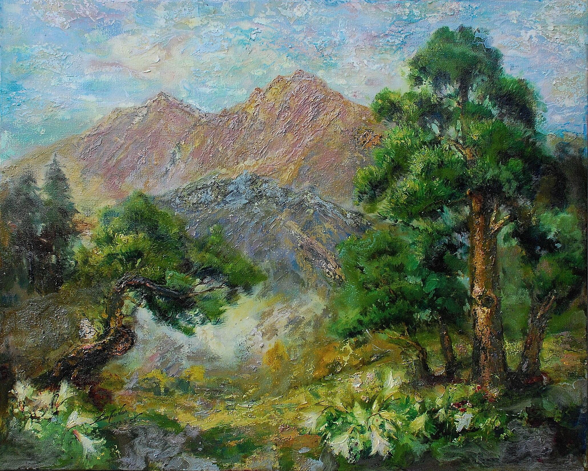 油畫-台灣母親-玉山