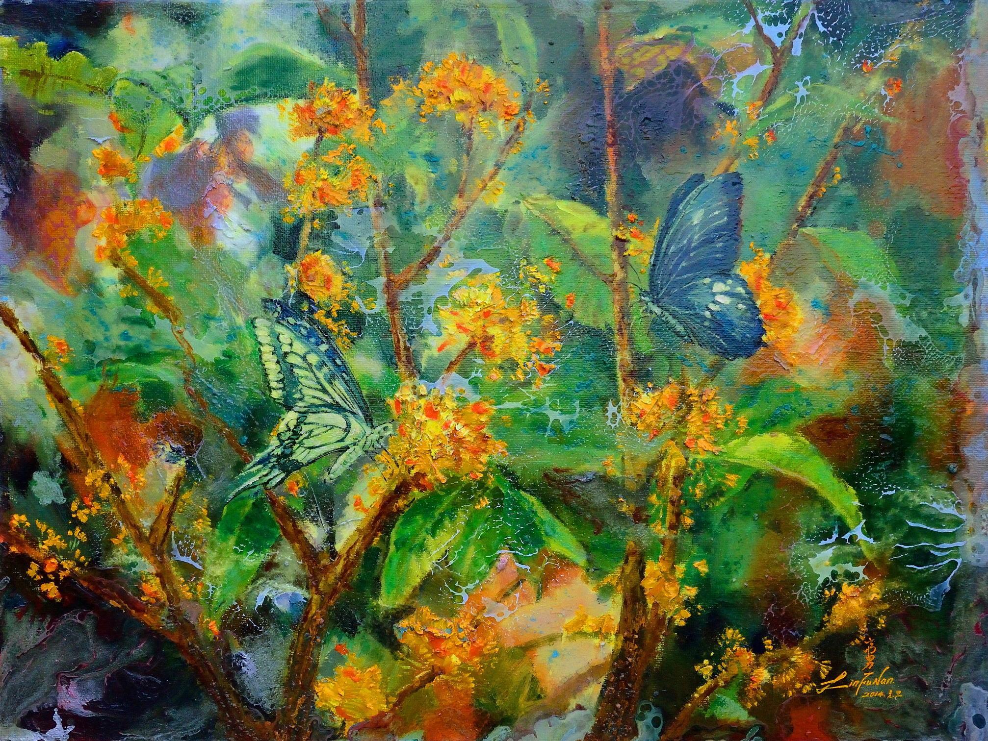 油畫-桂花雙蝶