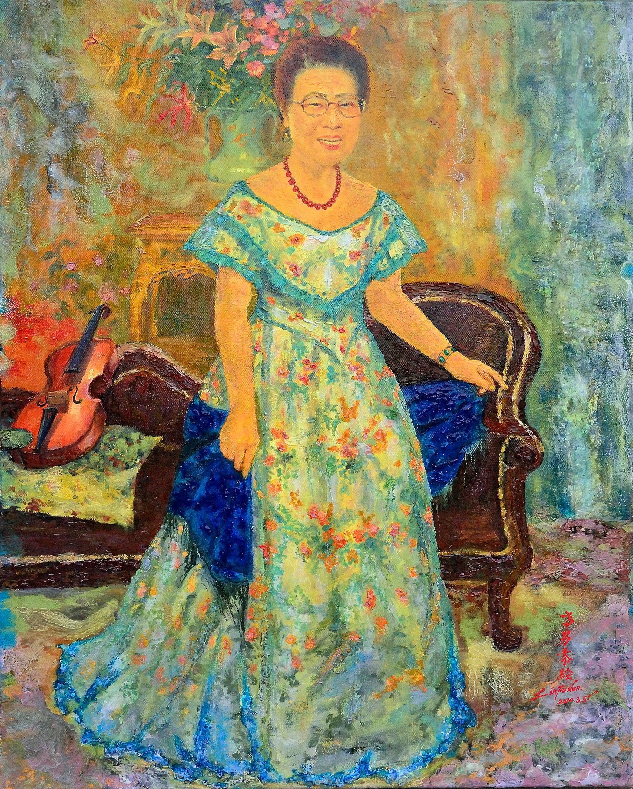 油畫-母親