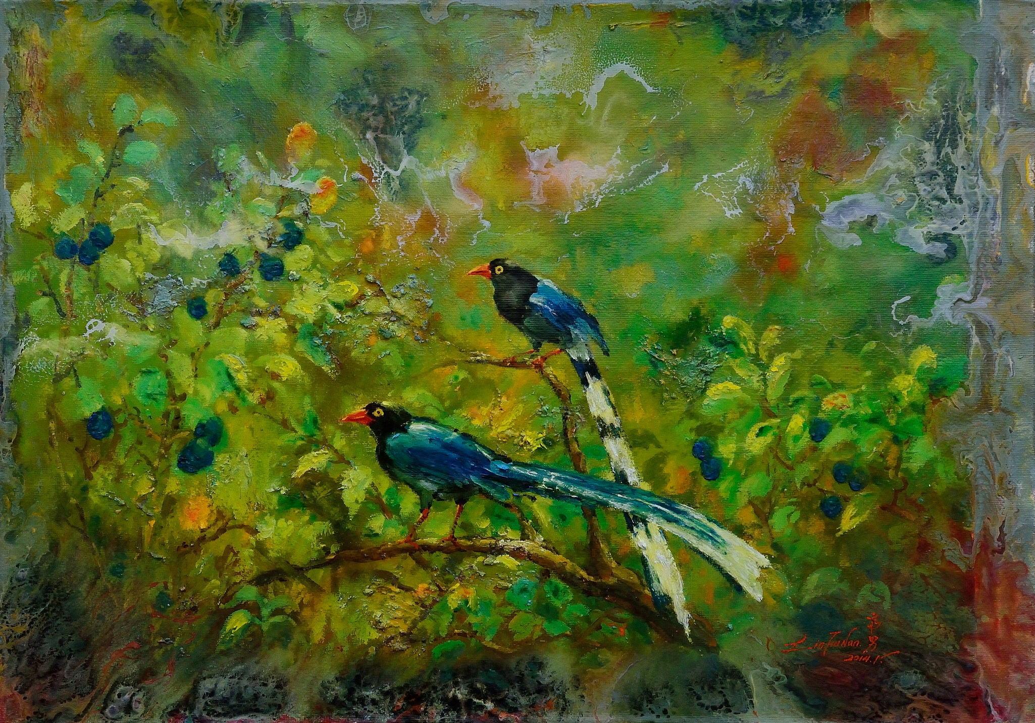 油畫-雙鵲報喜