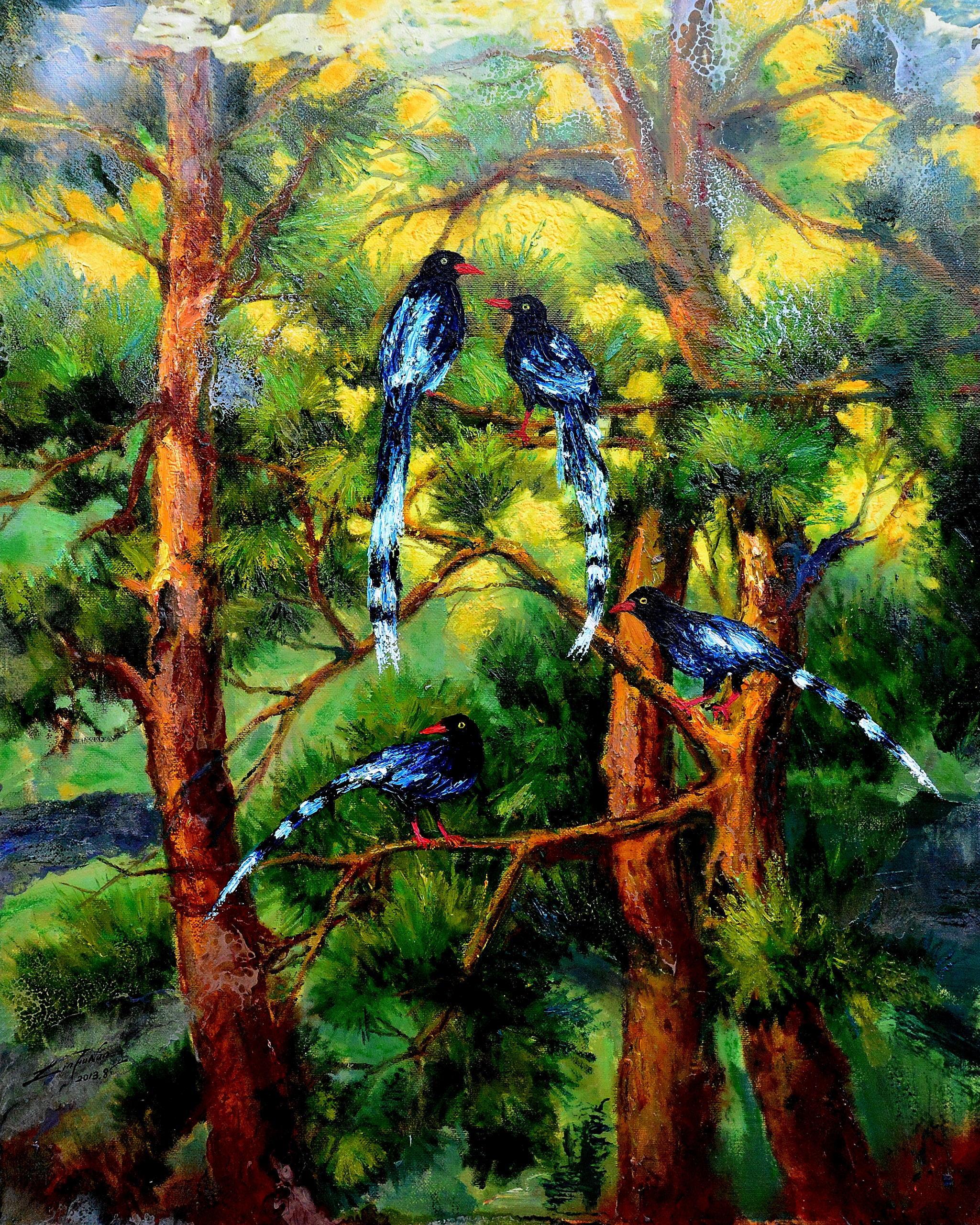 油畫-鵲躍松林